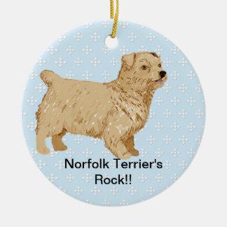 Norfolk Terrier - Blue w/ White Diamond Design Round Ceramic Decoration