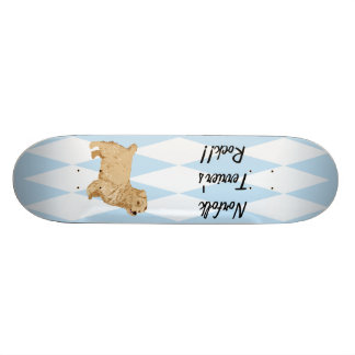 Norfolk Terrier - Blue w/ White Diamond Design Skate Board Deck