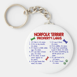 NORFOLK TERRIER Property Laws 2 Basic Round Button Key Ring