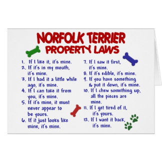 NORFOLK TERRIER Property Laws 2 Card