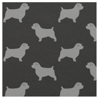 Norfolk Terrier Silhouettes Pattern Fabric