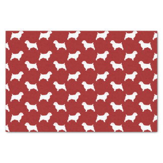 Norfolk Terrier Silhouettes Pattern Red Tissue Paper