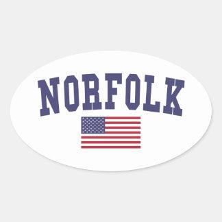 Norfolk US Flag Oval Sticker