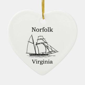 Norfolk Virginia Tall Ships Logo Ceramic Heart Decoration