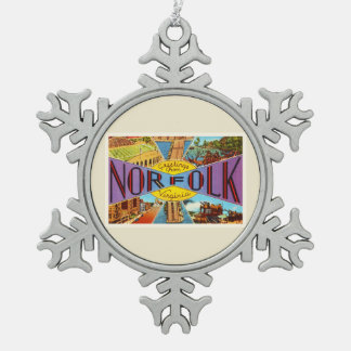 Norfolk Virginia VA Old Vintage Travel Postcard- Snowflake Pewter Christmas Ornament