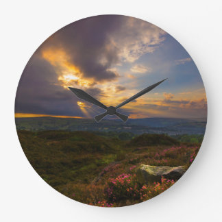 Norland moor sunset large clock