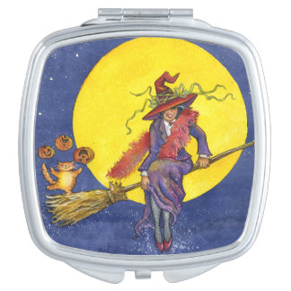 Norma the Witch illustration on a compact mirror. Mirrors For Makeup