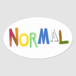 Normal common average regular colorful word art oval sticker