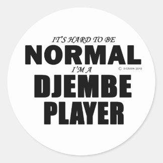 Normal Djembe Player Round Sticker
