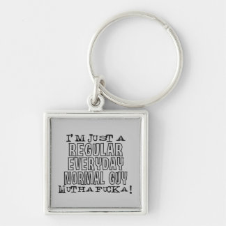 Normal Guy Silver-Colored Square Key Ring