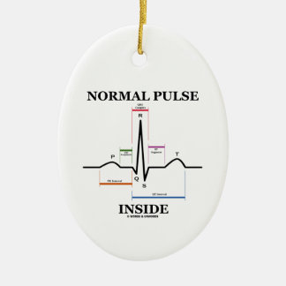 Normal Pulse Inside (ECG/EKG Electrocardiogram) Christmas Ornaments