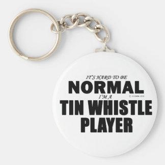 Normal Tin Whistle Player Basic Round Button Key Ring