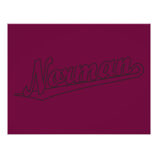 Norman script logo in outline distressed 21.5 cm x 28 cm flyer