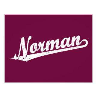 Norman script logo in white distressed 21.5 cm x 28 cm flyer