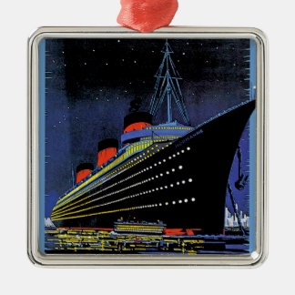 Normandie at Night Square Metal Christmas Ornament