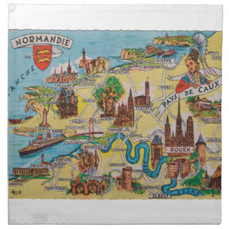 Normandie old map napkin