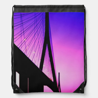 Normandy Bridge, Le Havre, France Drawstring Bag