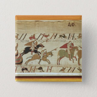 Normans disembark at Pevensey and the knights 15 Cm Square Badge