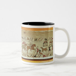 Normans disembark at Pevensey and the knights Two-Tone Coffee Mug