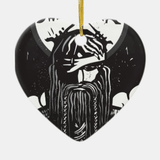 Norse God Odin and Wheel Symbol Christmas Ornament