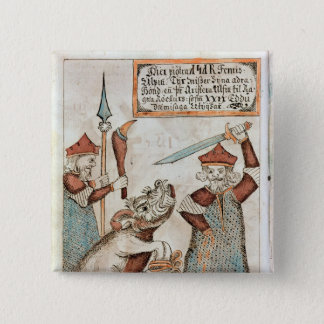 Norse god Tyr losing his hand to the bound wolf 15 Cm Square Badge