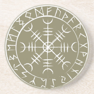 Norse Helm of Awe with Runes Beverage Coasters