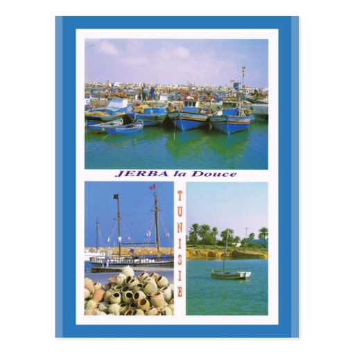 North Africa, Jerba, Tunisia, boats in the harbour Post Cards