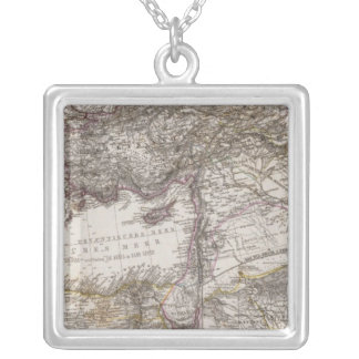 North Africa Map Silver Plated Necklace