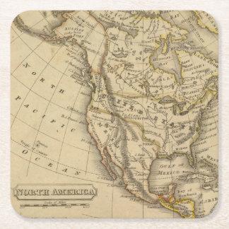 North America 10 Square Paper Coaster
