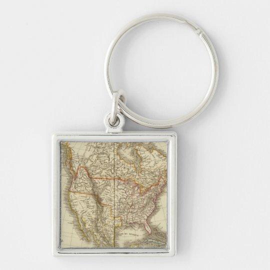 North America 13 Silver-Colored Square Key Ring