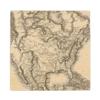 North America 47 Wood Coaster
