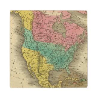 North America 5 Wood Coaster