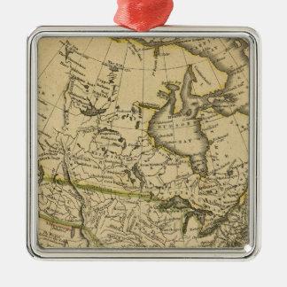 North America 7 Silver-Colored Square Decoration