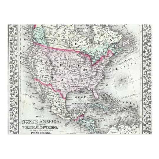 North America and the United States Antique Map
