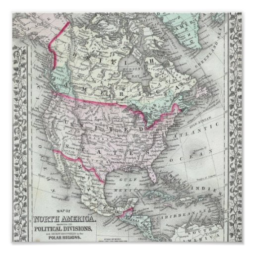 North America and the United States Antique Map Poster
