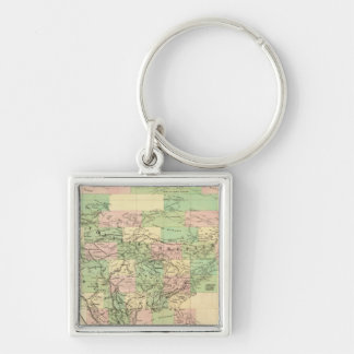 North America Assembly Map Silver-Colored Square Key Ring