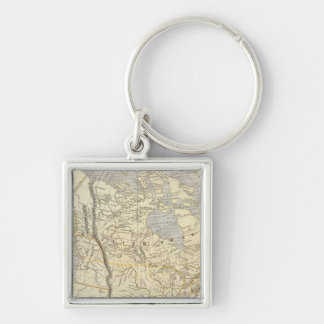 North America Atlas Map 2 Silver-Colored Square Key Ring
