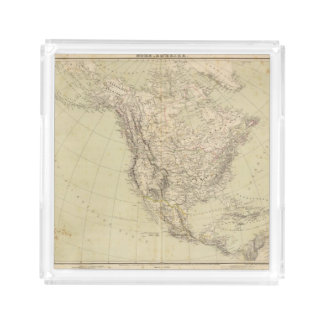 North America Atlas Map showing Indian tribes Acrylic Tray