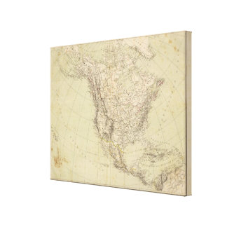 North America Atlas Map showing Indian tribes Canvas Print