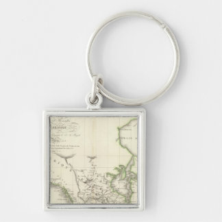 North America Atlas Map Silver-Colored Square Key Ring