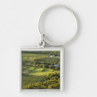 North America, Canada, Nova Scotia, Annapolis Silver-Colored Square Key Ring