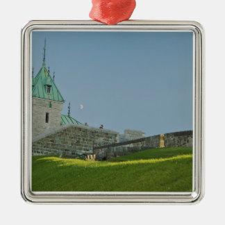 North America, Canada, Quebec, Old Quebec City. 2 Silver-Colored Square Decoration