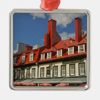 North America, Canada, Quebec, Old Quebec City. 3 Silver-Colored Square Decoration