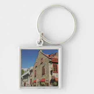 North America, Canada, Quebec, Old Quebec City. Silver-Colored Square Key Ring