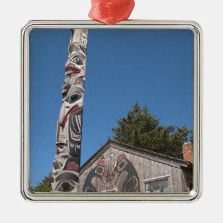North America, Canada, Queen Charlotte Islands, 3 Silver-Colored Square Decoration