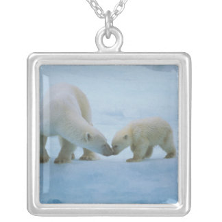 North America, Canadian Arctic. Polar bear and Silver Plated Necklace