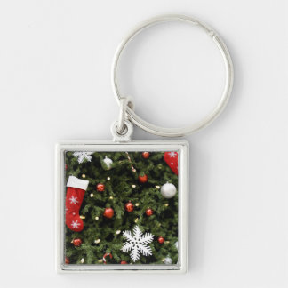 North America. Christmas decorations on tree. 2 Silver-Colored Square Key Ring