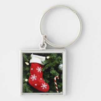 North America. Christmas decorations on tree. 3 Silver-Colored Square Key Ring