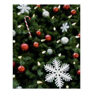 North America. Christmas decorations on tree. 4 Poster