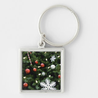 North America. Christmas decorations on tree. 4 Silver-Colored Square Key Ring